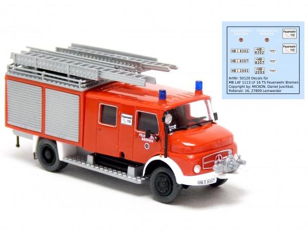 Decalbogen - MB LAF 1113 LF 16-TS Feuerwehr Bremen
