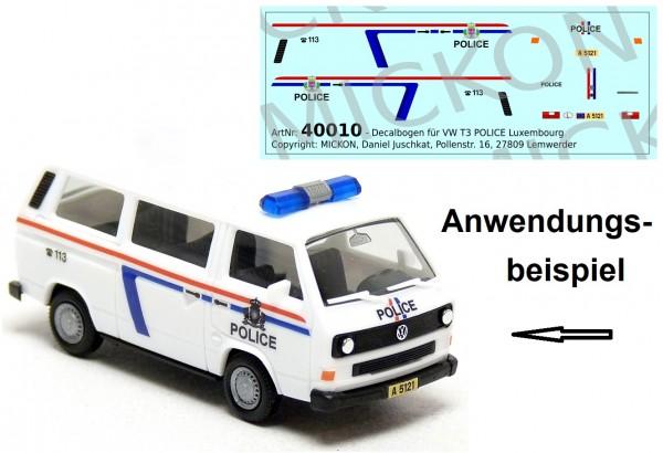 Decalbogen - VW T3 Bus POLICE Luxembourg