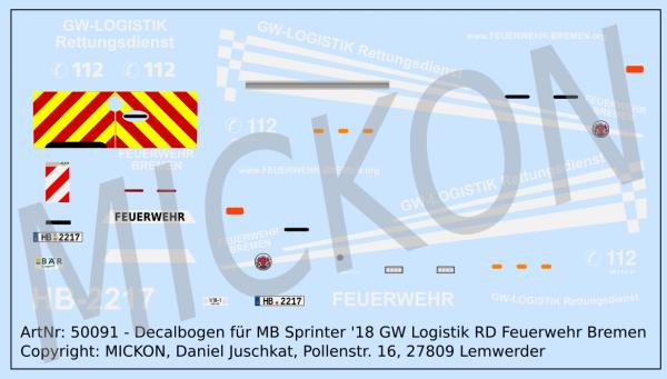 Decalbogen - MB Sprinter '18 GW Logistik Rettungsdienst Feuerwehr Bremen