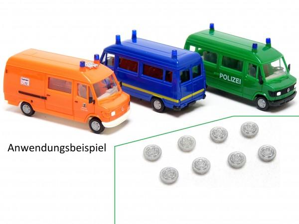 """8x Stahlfelge passend für Herpa MB 207 T1 """"Bremer Transporter"""""""