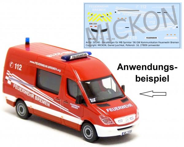 Decalbogen - MB Sprinter '06 GW Kommunikation Feuerwehr Bremen