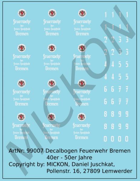 Decalbogen - Feuerwehr Bremen 40er - 50er Jahre universal