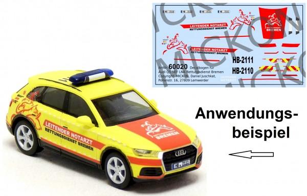 Decalbogen - Audi Q5 LNA leitender Notarzt Rettungsdienst Bremen