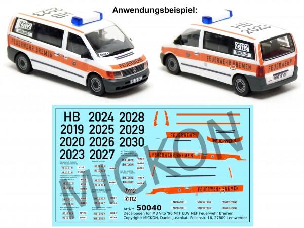 Decalbogen - MB Vito ELW / NEF / MTF Feuerwehr Bremen