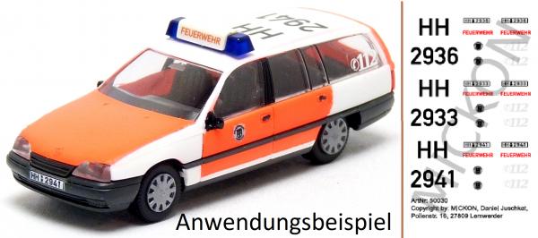 Decalbogen - Opel Omega KLF Feuerwehr Hamburg