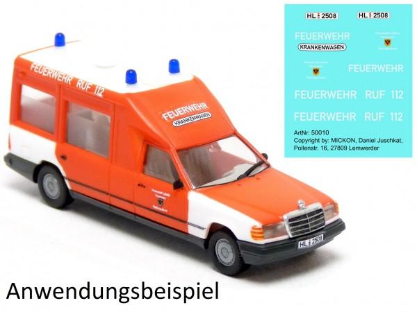 Decalbogen - MB W124 Miesen Bonna KTW Feuerwehr Lübeck