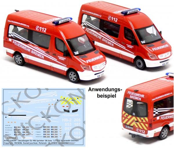 Decalbogen - MB Sprinter '06 / '13 MTF Feuerwehr Bremen