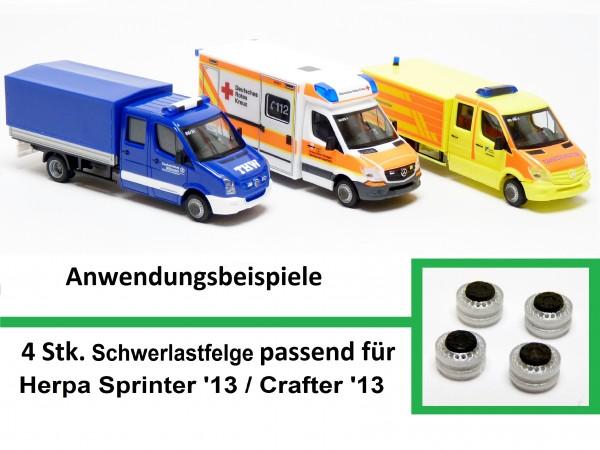 4 Stk. Schwerlastfelge passend für Herpa Sprinter '13 Facelift / Crafter '13