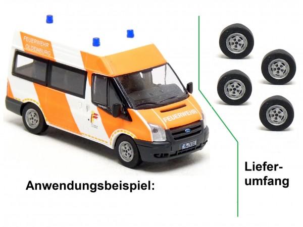 4x Stahlfelge mit Reifen passend für Rietze Ford Transit Modelle