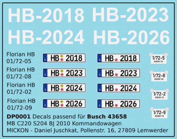 Ergänzungsdecals für Großserienmodelle - Feuerwehr Bremen
