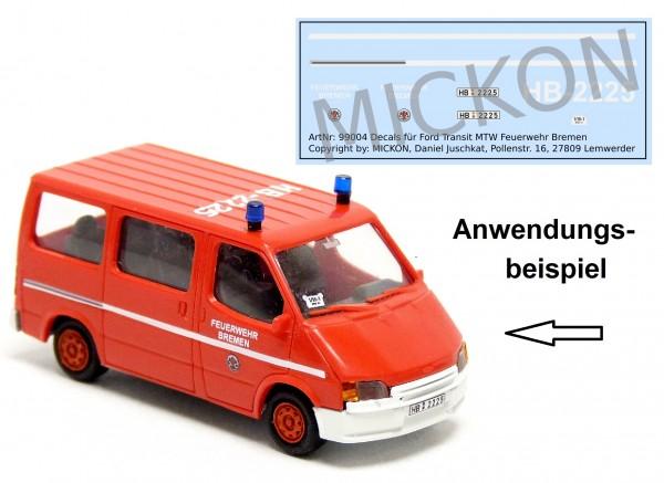 Decalbogen - Ford Transit MTW Feuerwehr Bremen