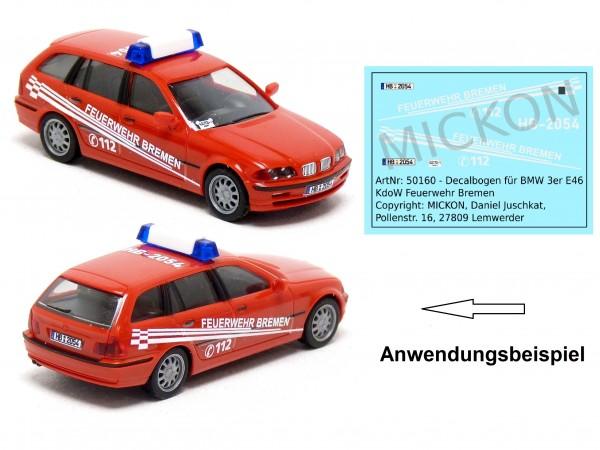 Decalbogen - BMW 3er E46 KdoW Feuerwehr Bremen