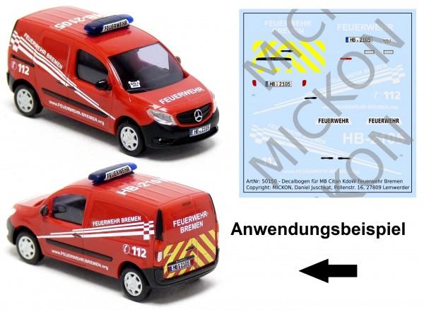 Decalbogen - MB Citan KdoW Feuerwehr Bremen