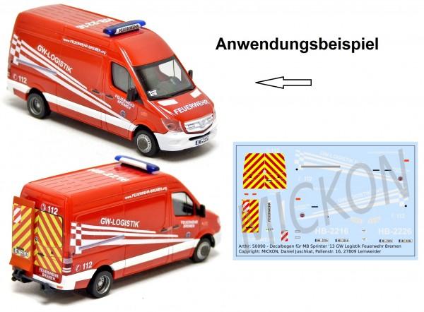 Decalbogen - MB Sprinter '13 GW Logistik Feuerwehr Bremen