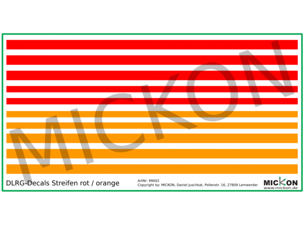 DLRG Streifen Decals - Universalbogen rot und orange