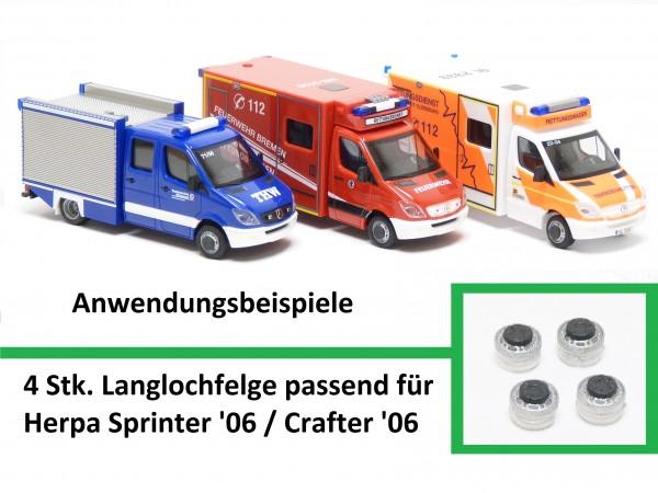 4 Stk. Schwerlastfelge passend für Herpa Sprinter '06/ Crafter '06